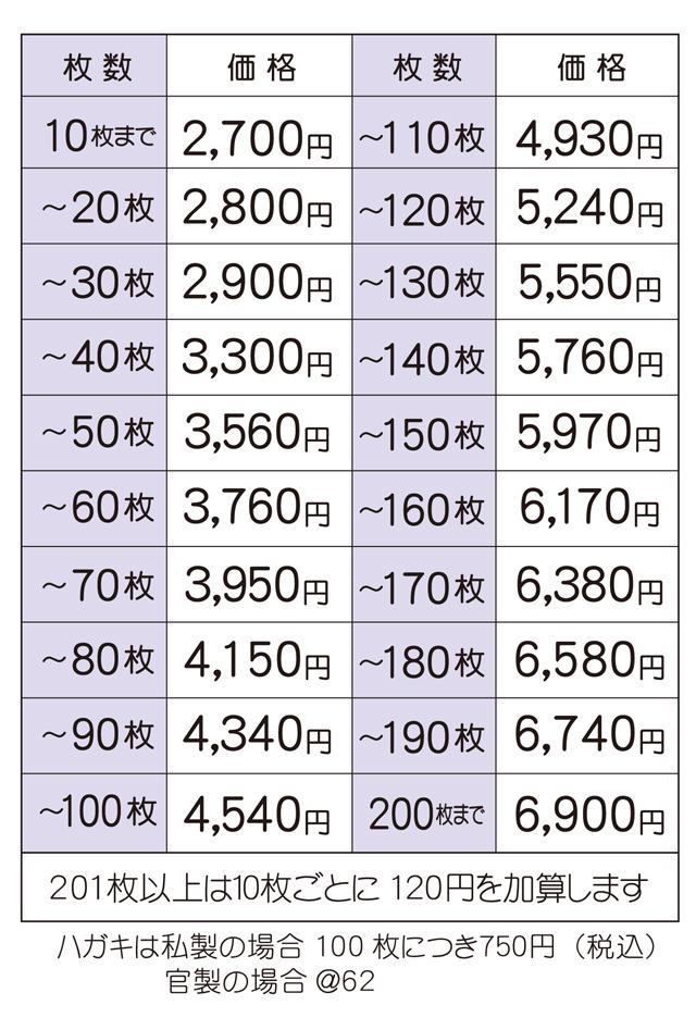 2017喪中価格表 カラー