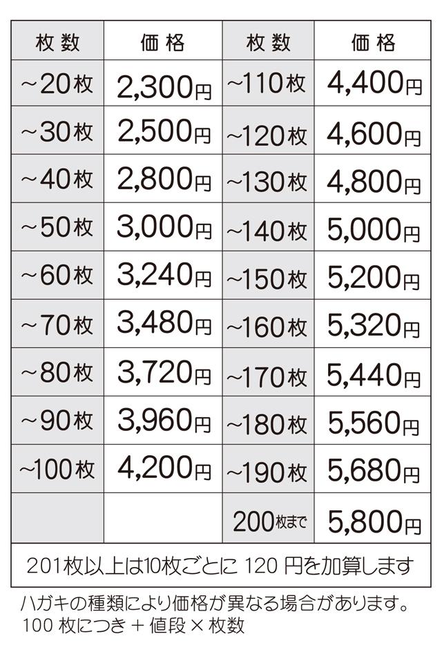 2017喪中価格表 白黒